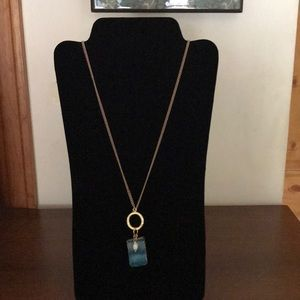 Jewelry - Blue stone necklace with gold tone chain